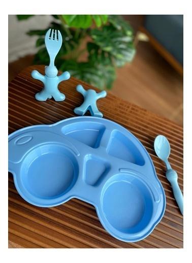 Bayev 3 Prç. Çocuk Yemek Seti - Araba Model Mavi Renkli